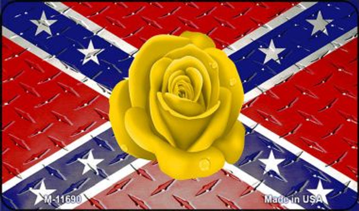 Confederate Flag With Yellow Rose Novelty Metal Magnet M-11690