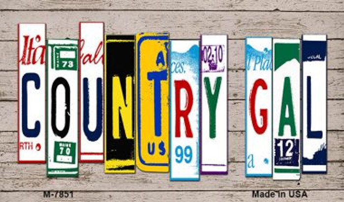 Country Gal Plate Art Novelty Metal Magnet M-7851
