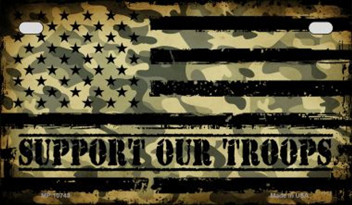 Camo American Flag Support Troops Novelty Metal Motorcycle Plate MP-10743