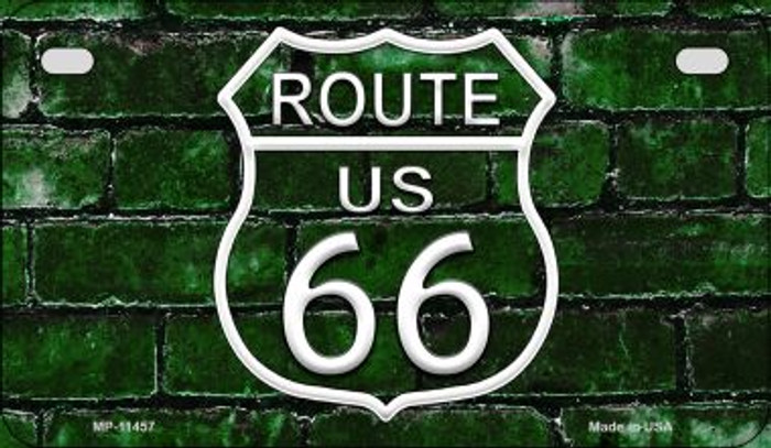 Route 66 Green Brick Wall Novelty Metal Motorcycle Plate MP-11457