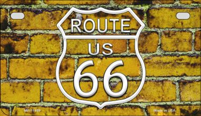 Route 66 Yellow Brick Wall Novelty Metal Motorcycle Plate MP-11459