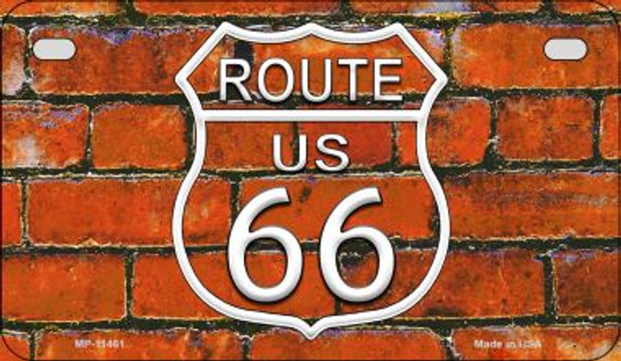 Route 66 Orange Brick Wall Novelty Metal Motorcycle Plate MP-11461