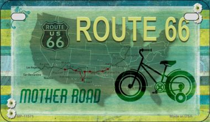 Route 66 Mother Road Novelty Metal Motorcycle Plate MP-11571