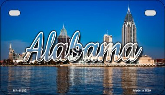 Alabama City Skyline Novelty Metal Motorcycle Plate MP-11583