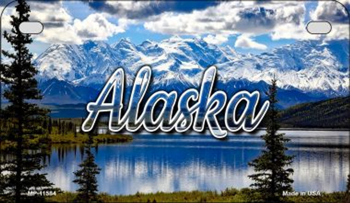 Alaska Snowy Mountains Novelty Metal Motorcycle Plate MP-11584