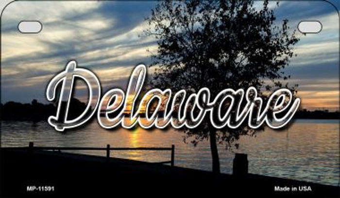 Deleware River Sunset Novelty Metal Motorcycle Plate MP-11591