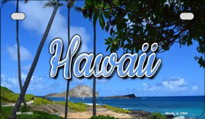 Hawaii Palm Trees Novelty Metal Motorcycle Plate MP-11595