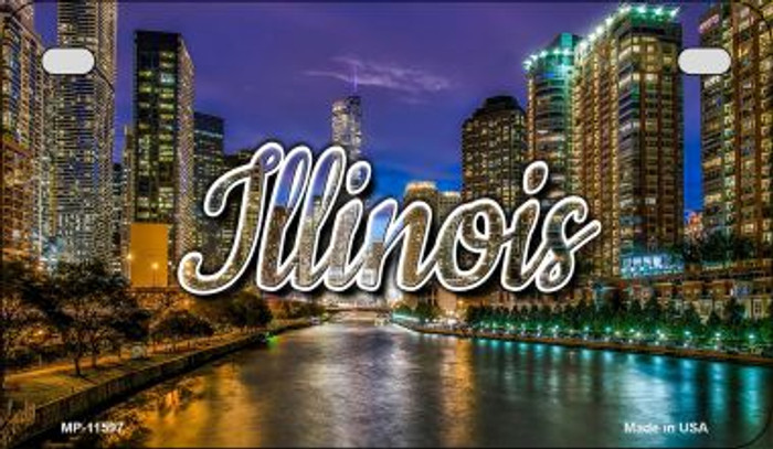 Illinois River City Lights Novelty Metal Motorcycle Plate MP-11597