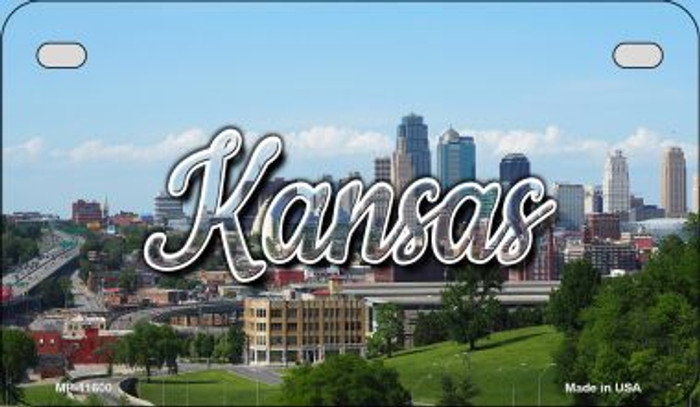 Kansas Downtown Skyline Novelty Metal Motorcycle Plate MP-11600