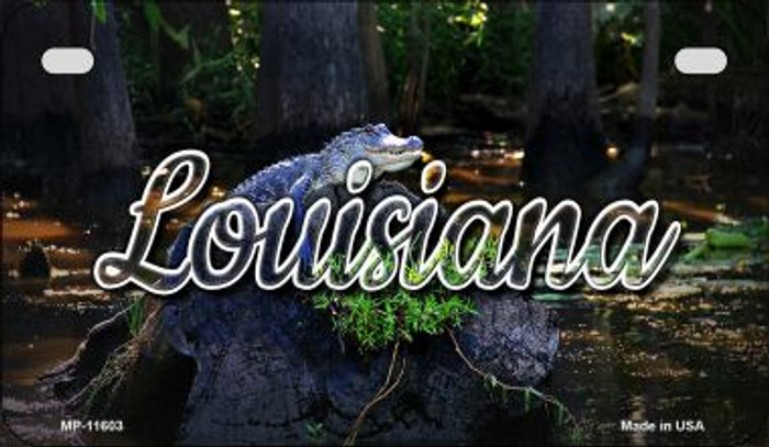 Louisiana Alligator Swamp Novelty Metal Motorcycle Plate MP-11603