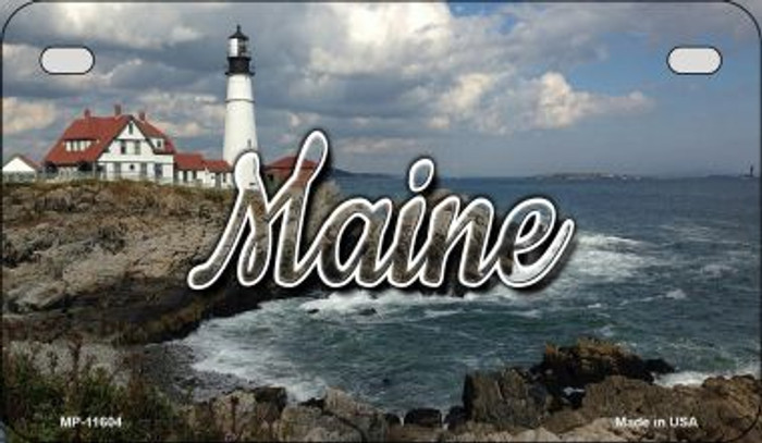 Maine Lighthouse Beach Novelty Metal Motorcycle Plate MP-11604