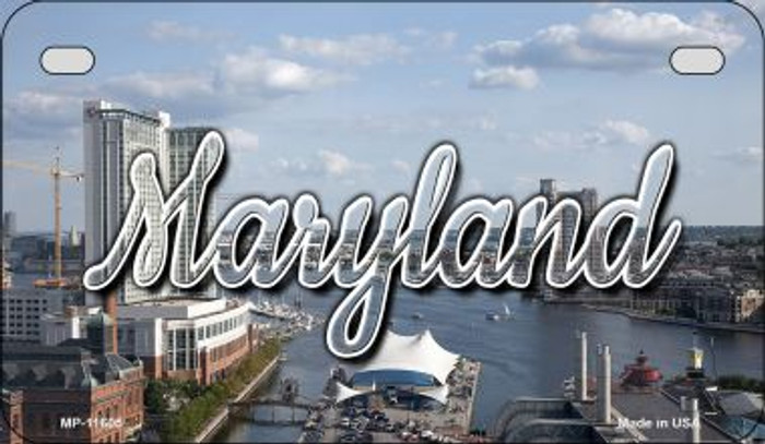 Maryland River Skyline Novelty Metal Motorcycle Plate MP-11605