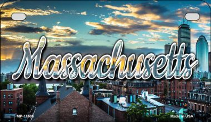 Massachusetts Sunset Skyline Novelty Metal Motorcycle Plate MP-11606