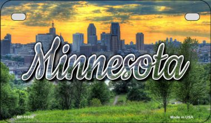 Minnesota City Skyline Sunset Novelty Metal Motorcycle Plate MP-11608