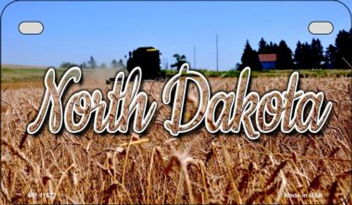 North Dakota Wheat Farm Novelty Metal Motorcycle Plate MP-11622