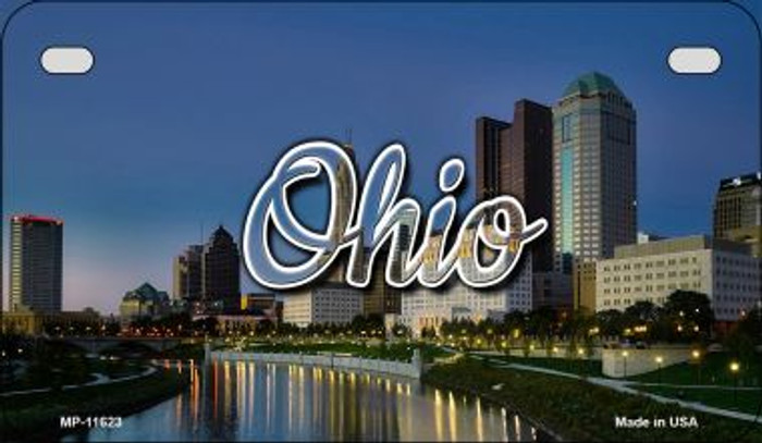 Ohio River City Skyline Novelty Metal Motorcycle Plate MP-11623