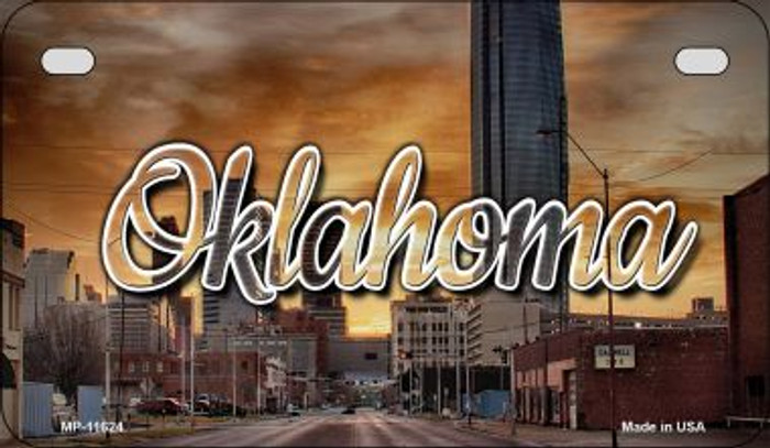 Oklahoma Sunset Skyline Novelty Metal Motorcycle Plate MP-11624