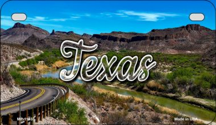Texas Open Mountain Road Novelty Metal Motorcycle Plate MP-11633