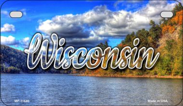 Wisconsin Colorful Lake Novelty Metal Motorcycle Plate MP-11640