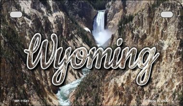 Wyoming Rocky Waterfall Novelty Metal Motorcycle Plate MP-11641