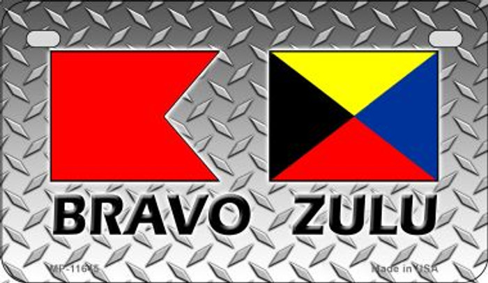 Bravo Zulu Novelty Metal Motorcycle Plate MP-11645