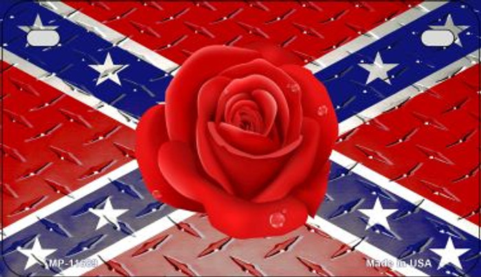 Confederate Flag With Red Rose Novelty Metal Motorcycle Plate MP-11689
