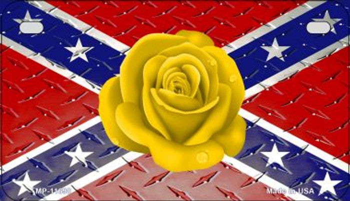 Confederate Flag With Yellow Rose Novelty Metal Motorcycle Plate MP-11690