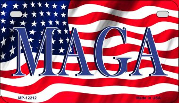 MAGA Flag Novelty Metal Motorcycle Plate MP-12212