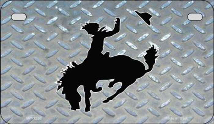 Bucking Bronco Diamond Novelty Metal Motorcycle Plate MP-1230