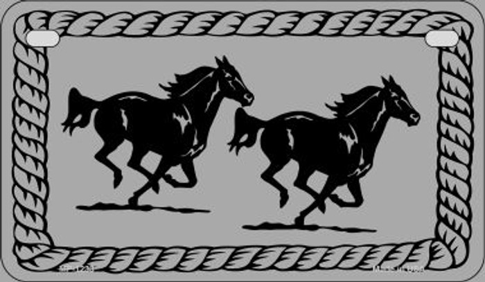 Running Horses Novelty Metal Motorcycle Plate MP-1233