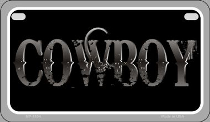 Cowboy Novelty Metal Motorcycle Plate MP-1834