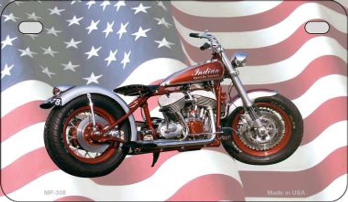 Indian Motorcycle American Flag Novelty Metal Motorcycle Plate MP-308