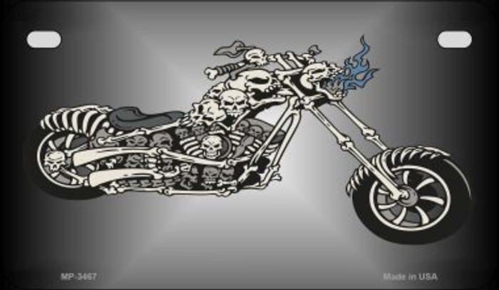 Chopper Skull Novelty Metal Motorcycle Plate MP-3467