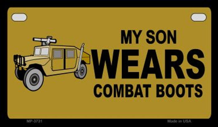 Son Wears Combat Boots Novelty Metal Motorcycle Plate MP-3731