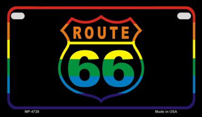 Route 66 Rainbow Novelty Metal Motorcycle Plate MP-4728