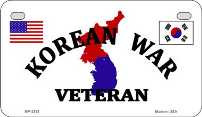 Korean War Veteran Novelty Metal Motorcycle Plate MP-5213