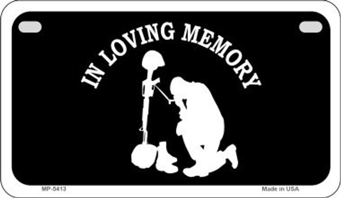 In Loving Memory Kneeling  Novelty Metal Motorcycle Plate MP-5413
