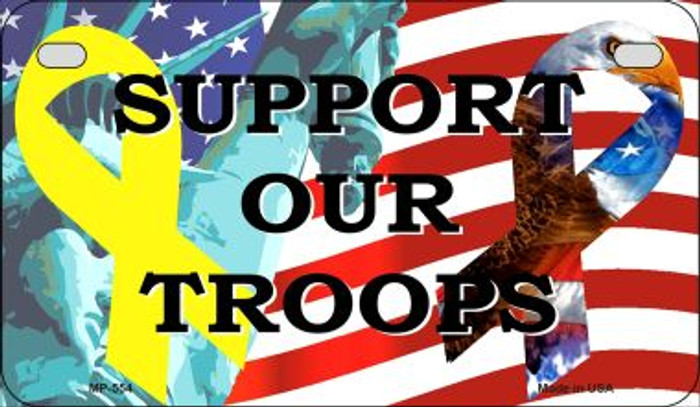 Support Our Troops Novelty Metal Motorcycle Plate MP-554