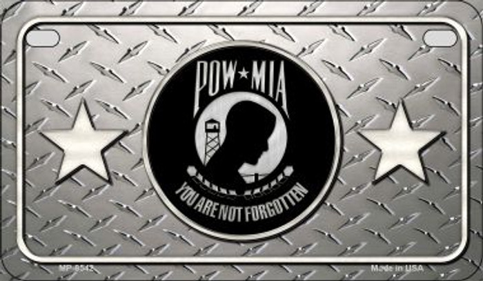 POW MIA Diamond Novelty Metal Motorcycle Plate MP-8542