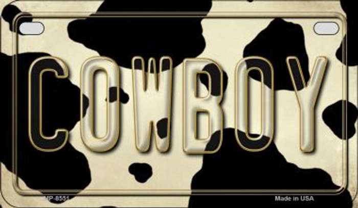 Cowboy Cow Print Novelty Metal Motorcycle Plate MP-8551