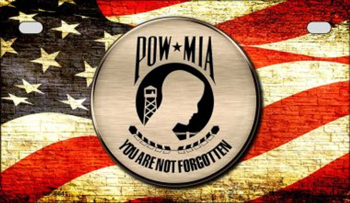 POW MIA With USA Flag Novelty Metal Motorcycle Plate MP-8641