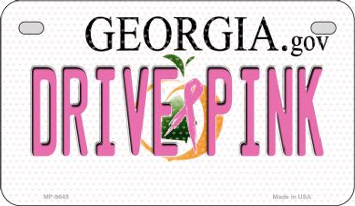 Drive Pink Georgia Novelty Metal Motorcycle Plate MP-9645