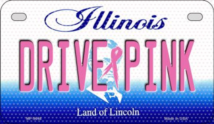 Drive Pink Illinois Novelty Metal Motorcycle Plate MP-9648