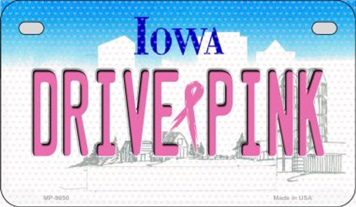 Drive Pink Iowa Novelty Metal Motorcycle Plate MP-9650