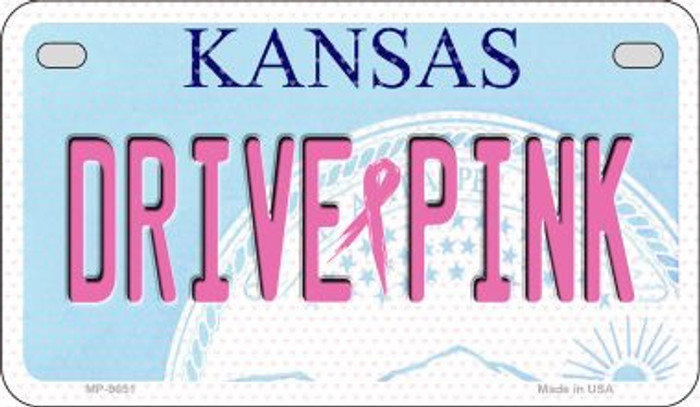 Drive Pink Kansas Novelty Metal Motorcycle Plate MP-9651