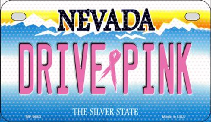 Drive Pink Nevada Novelty Metal Motorcycle Plate MP-9663