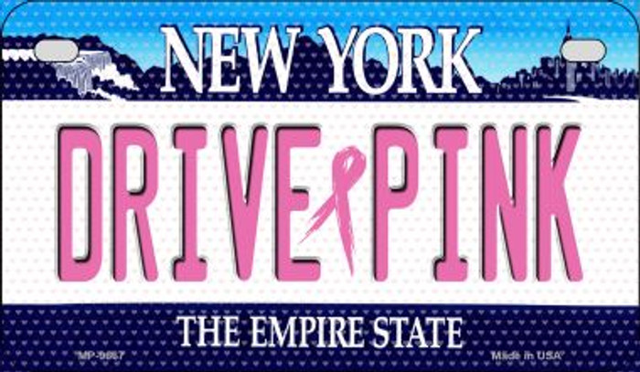 Drive Pink New York Novelty Metal Motorcycle Plate MP-9667