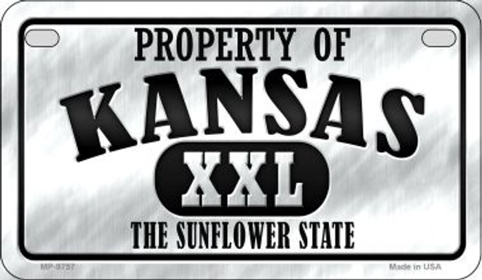 Property Of Kansas Novelty Metal Motorcycle Plate MP-9757