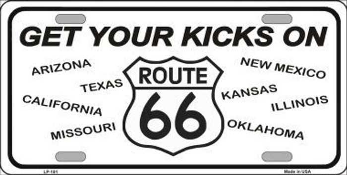 Get Your Kicks On 66  Novelty Metal License Plate