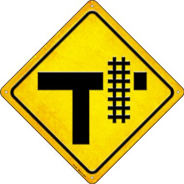 Railroad Crossing Right Novelty Metal Crossing Sign CX-450